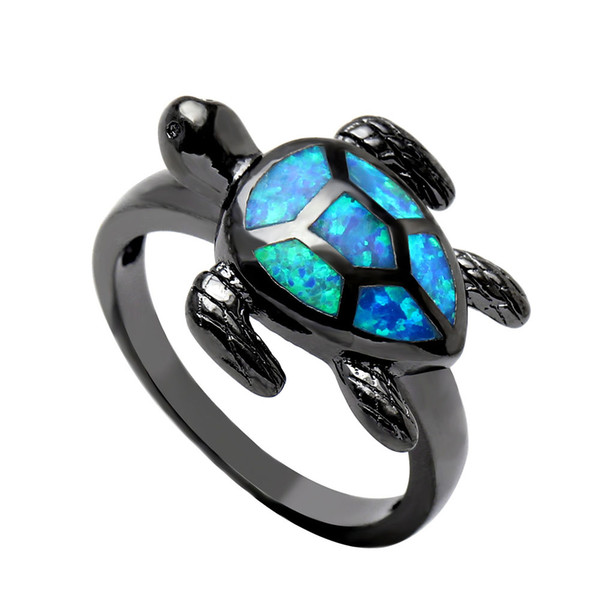 New Arrival Blue Tortoise Fire Opal Rings For Women Black Jewelry Engagement Animal Design Finger Gift Drop Shipping Turtle Ring