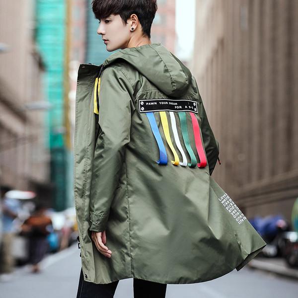 # 4005 Neue 2019 Slim Harajuku Trenchcoat Männer Bänder Streetwear Mit Kapuze Plus Größe 5XL Gerade Reißverschluss Lange Trenchcoat Homme