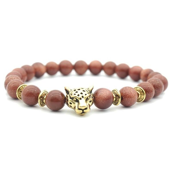 Hot Sell Bead Stretch Bracelets Red Stone Beads Bracelets With Leopard Buddha Head Yoga Reiki Prayer Stone Bracelet