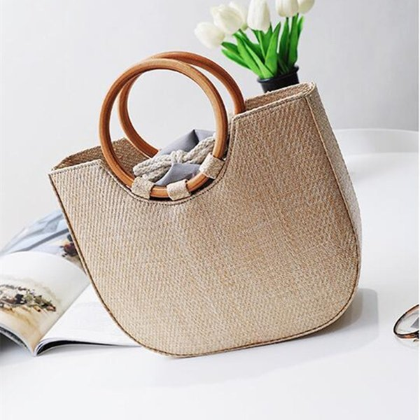 Aequeen 2018 Summer Circle Wooden Handle Knitted Handbag Straw Bags For Women Tote Bag Rattan Crossbody Bag Beach Hand Bag Bolso Y19061204