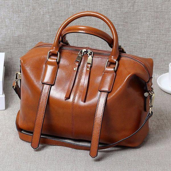 Wild2019 Oil Wax Portable Cowhide Woman Boston Bag Tide Ma'am Genuine Leather Single Shoulder Satchel Package