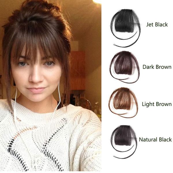 Agrafe En Extension De Vraies Franges De Cheveux Humains Main Liée De Cheveux Frange Avec Des Temples Noir Marron