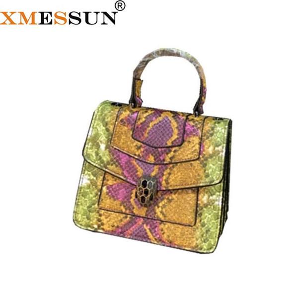 Genuine Leather Snake Skin Chain Bag 2018 Designer Handbags Ladies Satchels Patchwork Serpentine Cross Body Bag Dropshipping F71