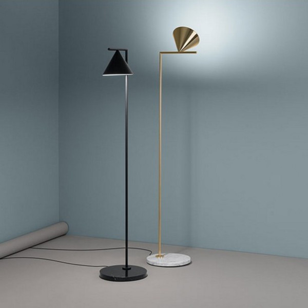 Marble base 153cm Floor Lamp with Steel Rod and Iron Shade, Black or Golden Bronzing led floor light for living room home light