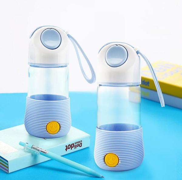 Conejo Botella de agua de dibujos animados de vidrio Viaje portátil Mini jugo Botella de agua Coche Bebé Taza al aire libre Drinkware 3 colores En stock