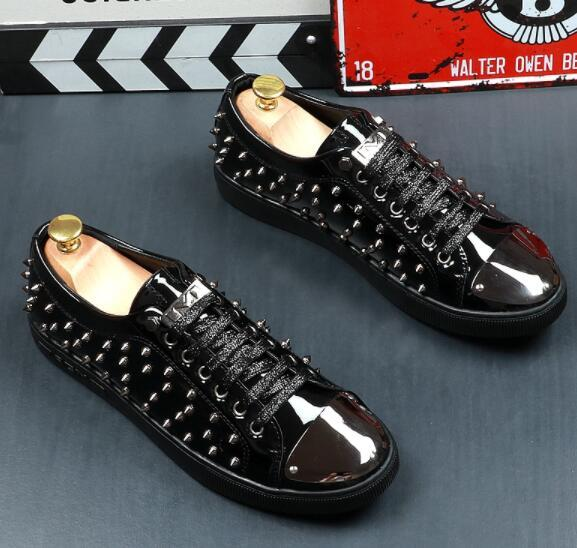 Top Quality Cow Split Leather Shoes Men Sneakers Spring Summer 2019 Rivet Hip Hop Dance Shoes Casual Footwear Man Flats SIZE:39-43