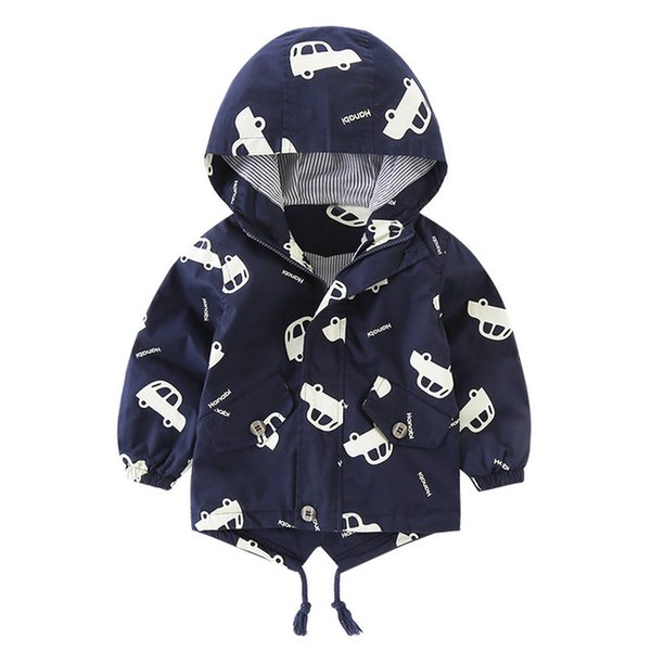 Fashion Cotton Hooded Jacket Children Boys Girls Autumn Winter Coat Zipper Cartoon Tops Boys Outfits for 1-5T