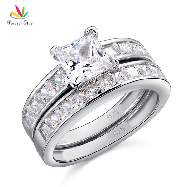 Peacock Star Solid 925 Sterling Silver 2-pcs Wedding Engagement Ring Set 1 Ct Princess Cut Jewelry Cfr8020 J190625