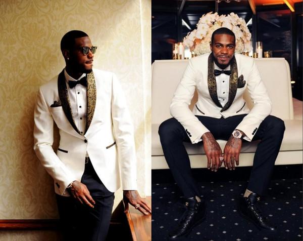 Beau deux pièces smokings de mariage blanc Slim Fit or motif Laple costumes pour hommes un bouton costume garçon d'honneur (veste + pantalon + noeud papillon)