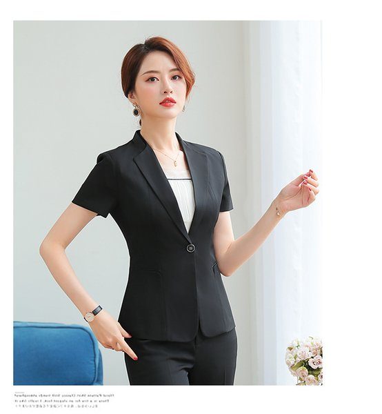 Summer Women Blazer Office Lady Elegant Shawl Collar Short Sleeve Trousers Suit Business Uniform Formal Work (Jacket + Pants)