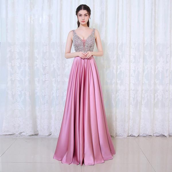 High-end Moda Sexy Com Decote Em V Vestidos de Noite Formal Rosa de Seda Elástica Halter Artesanal Frisado Longo Vestidos de Festa de Dança