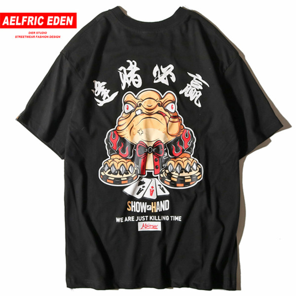 Aelfric Eden Chinese Character Poker Print T-shirts Men 2019 Hip Hop Short Summer Casual Streetwear Skateboard Tops Tees C19040402