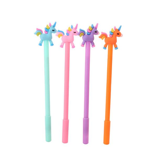top popular Kawaii Rainbow Unicorn Gel Pen 0.5mm Black Pen For Writing Kids Creative Korean Individual Stationery Students Office School Supplies 2019