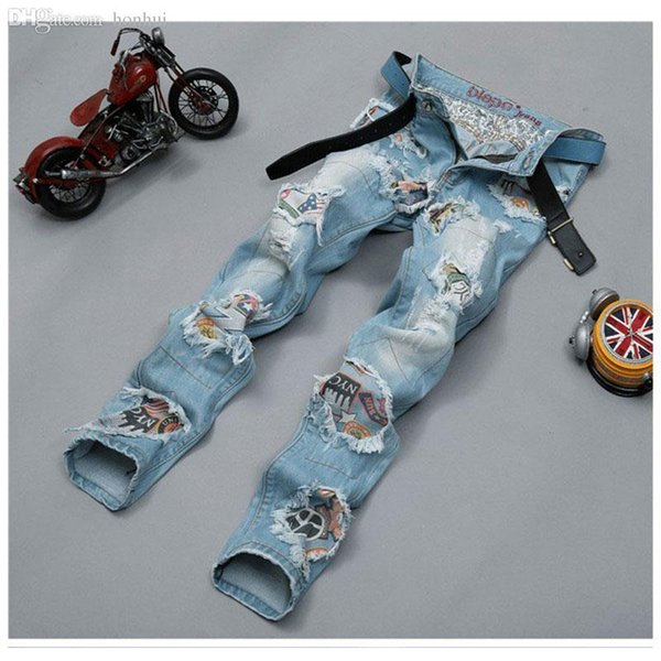 Cool Mens Rock Dance Jeans Light Ripped Distressed Tassel Patched Hot Skinny Washed Denim Pants For Men