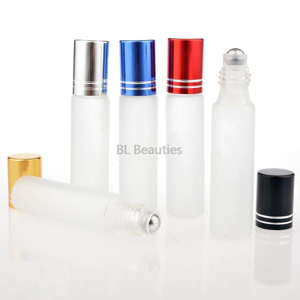 500 unids / lote 10 ml Vidrio Esmerilado Rollo En Aceites Esenciales Botellas de Perfume Bola de Rodillo de Acero Inoxidable 1/3 oz