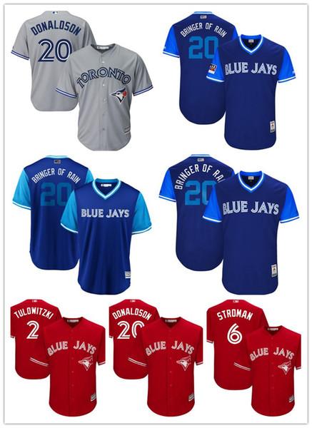 Toronto Blue Beyzbol Forması Jays 20 Josh Donaldson 2 19 Jose Bautista 6 Marcus Stroman 11 Kevin Pillar Alomar 29 Joe Carter