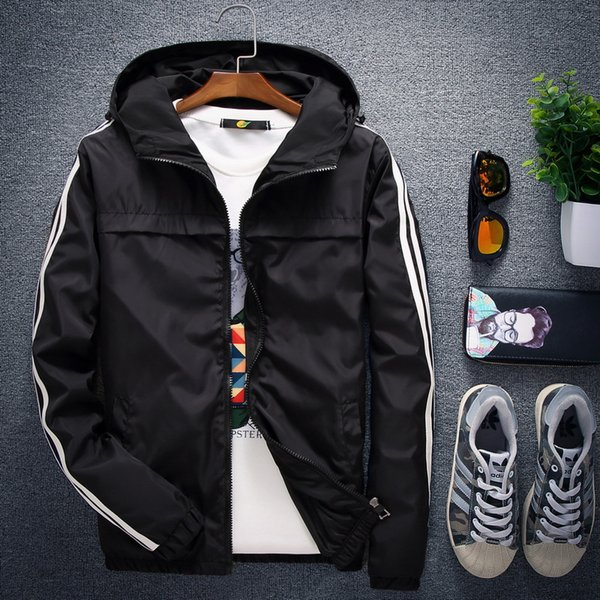 Spring Autumn New Men Hooded Jacket Solid Color Long Sleeve Simple Striped Black Jacket Size S-4XL