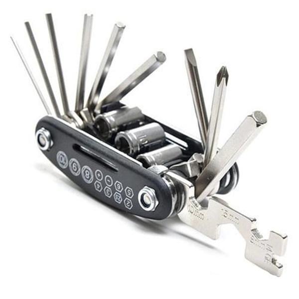 Biciclette 15-in-one multifunzionale Repair Tool Set in acciaio inox esagonale Spoon tiraraggi manica Estensione Rod Croce Slot cacciavite