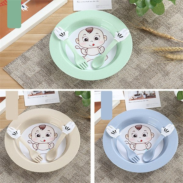 Qualité alimentaire en plastique bébé bol bébé cuillère fourchette blé paille bébé vaisselle Set 4 couleurs pour choisir