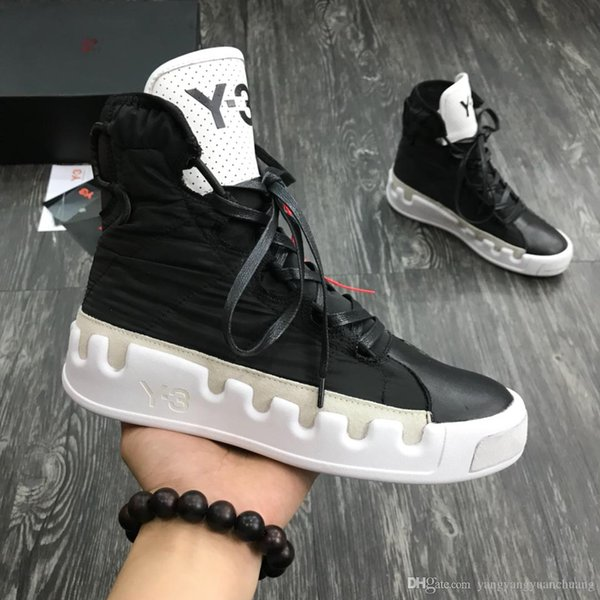 Kanye West Y-3 NOCI0003 Red White Black High-Top Men Sneakers Waterproof Genuine Leather Luxury Designer Y3 Casual