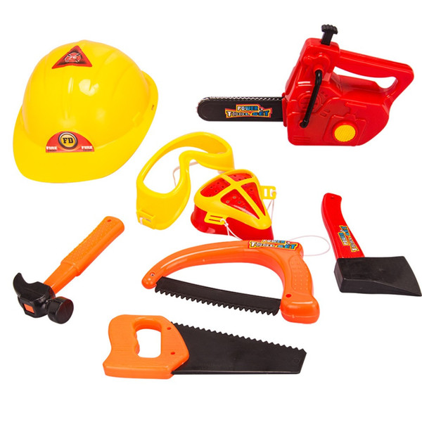 Simulation Repair Tool Toy Set Play House Modeling Kids Chainsaw Helmets Axes Hammers Saws educational toys