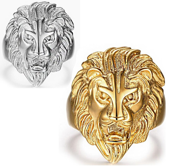 European and American Fashion Rock Hip Hop Ornaments Golden Domineering Lion Head Titanium Steel Stainless Steel Punk Men Ring R344