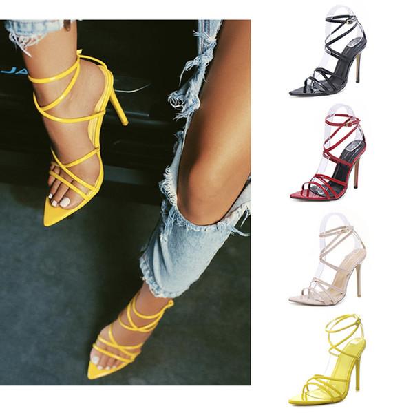 Sandali firmati da donna sexy sandali gladiatore a punta incrociati con tacco a spillo in pelle con tacco a spillo donna scarpe estive di grandi dimensioni 35-43