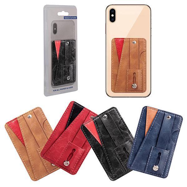 PU cuir portefeuille de cartes de crédit de trésorerie de poche autocollant 3M vignette autocollante sur la carte d'identité de crédit Porte-Pouch pour iPhone Samsung Mobile Phone