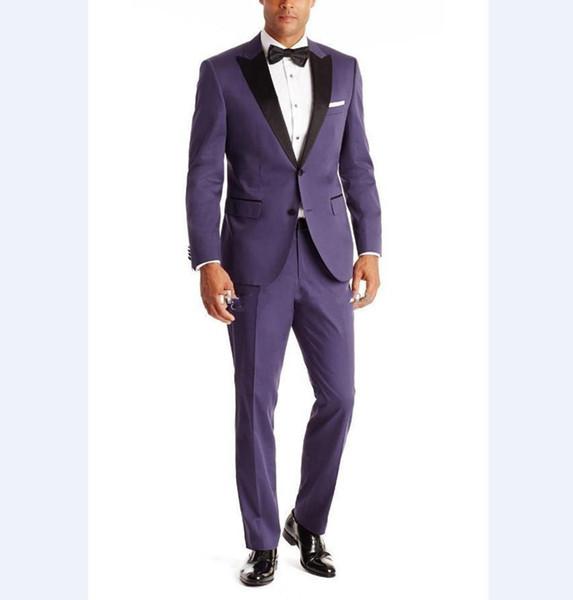 New Fantastic Style Two Buttons Dark Purple Wedding Groom Tuxedos Peak Lapel Groomsmen Mens Dinner Blazer Suits (Jacket+Pants+Tie) 299