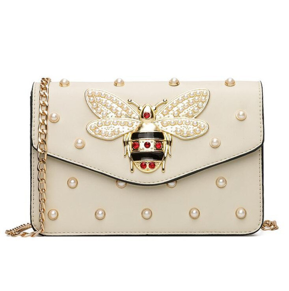 Factory wholesale brand women handbag sweet lady pearl chain bag exquisite diamond hand bag personality bees lock shoulder bag