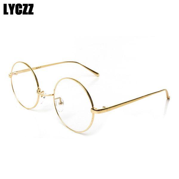 92858f4ceb4dc LYCZZ Espelho Simples Masculino Feminino de Metal armações de óculos de  ouro armações de óculos eyewear