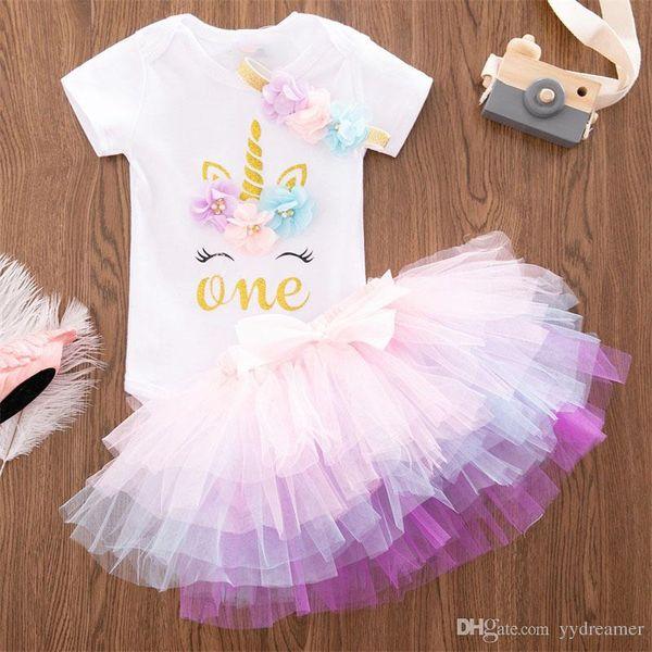 Compre Ropa De Niña Recién Nacida Vestido Unicornio Para Bebés 2019 Verano Floral Niña Bebé 1 Año Cumpleaños Trajes Tutu Niño Pequeño Bautizo A 279