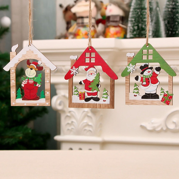 Creative House Christmas Wooden Pendants Xmas Tree Ornaments Diy Wood Crafts Home Christmas Party Decoration Kids Gift Holiday Decoration Holiday