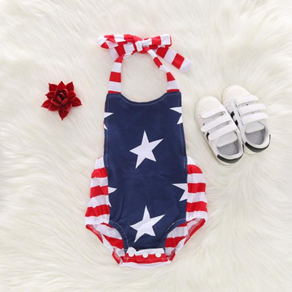 Bebê recém-nascido Roupas de Grife Bandeira Americana Independência Dia Nacional EUA 4 de Julho Estrela Macacão Listrado Macacão Estilingue Impressão Onesies
