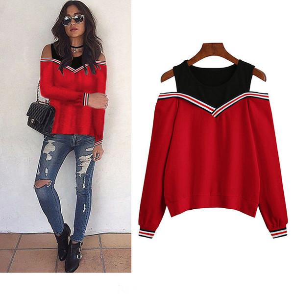 Frauen Hoodies Sweatshirts 2018 Sexy Schulterfrei Patchwork Top Herbst Aushöhlen Hoodies Casual Gefälschte Zwei Stücke Pullover Jumper