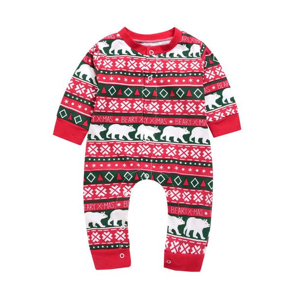 Infant baby girl boy cartoon romper jumpsuit long sleeves Bear letter print bodysuit cute baby kid clothing for Christmas