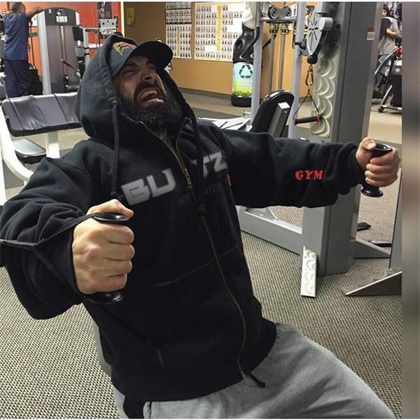 2018 Nuova giacca da corsa Marca Uomo Felpe con cappuccio in cotone Fitness Felpa con cappuccio da uomo Pullover da allenamento palestra Felpe sportive da uomo