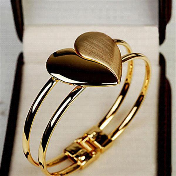 Cheap Bangle Bracelet New New Lady Elegant Heart Bangle Wristband Bracelet Cuff Bling Gift Magnetic Bracelet #501