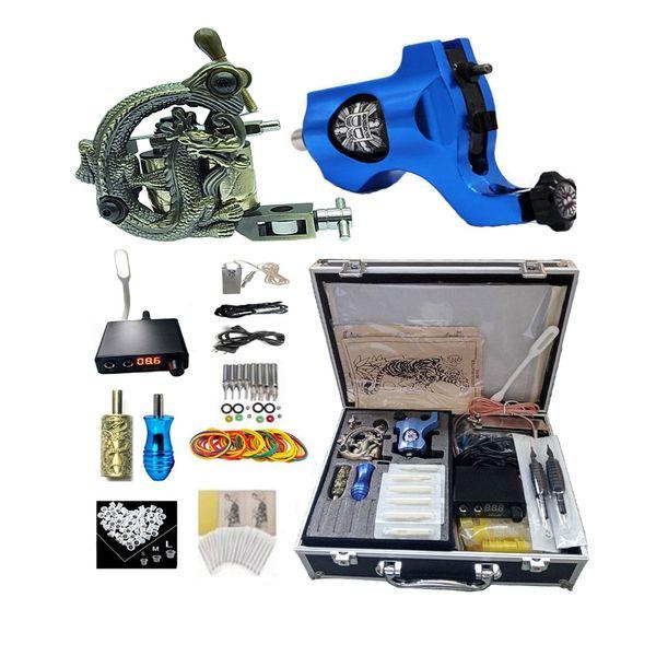 Professionelle komplette Tattoo Kit 2 Top Maschinengewehr 50 Nadeln 2 Griffe Netzteil mit LED-Lampe G1904033