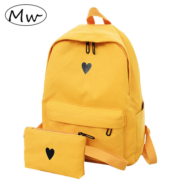 Moon Wood High Quality Canvas Printed Heart Yellow Korean Style Students Travel Girls School Bag Laptop Backpack Y190627