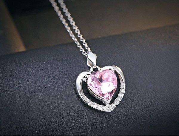 Coração de cristal rosa pingentes de 925 colar de prata esterlina jóia das senhoras mulher amor aberto oceano oco azul diamante moda causal 23x17mm 6 pc