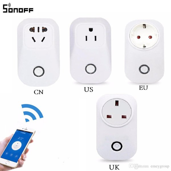 New Itead Sonoff S20 Smart Wifi Socket Switch CN UK US EU Plug Remote Control Socket Outlet Timing Switch for Smart Home Automation
