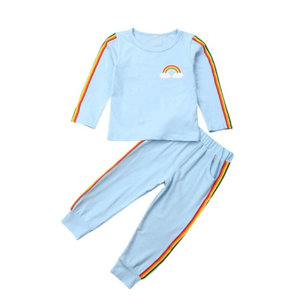 Active Kids Baby Girls Rainbow Striped Outfits Autumn Clothes Cotton Pullover Shirts Long Pants Child Girl Sets Tracksuits 1-6Y