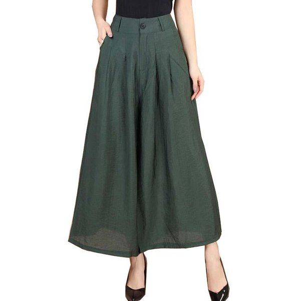 New Plus Size Summer Fashion Women Solid Wide Leg Loose Cotton Dress Pants Female Casual Skirt Trousers Capris Culottes BL1441