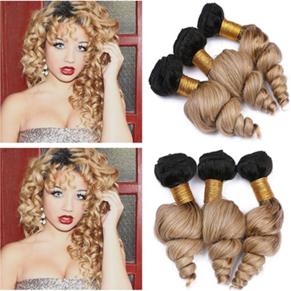 #1B/27 Honey Blonde Ombre Loose Wave Peruvian Human Hair Weave Wefts 3Bundles Light Brown Ombre Virgin Human Hair Weaves Mixed Length