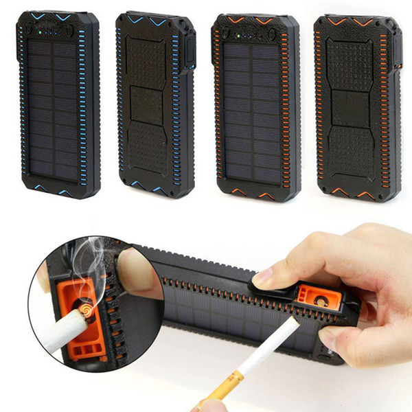 15000mAh Waterproof Solar Powerbank Portable External Battery Solar Power Bank Charger with Electric Cigarette Lighter for Phone Outdoors