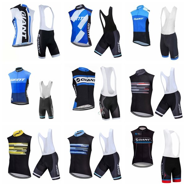 top popular Explosion trend hot sale fashion men GIANT Cycling Sleeveless jersey Vest bib shorts sets Top brand 60411 2019