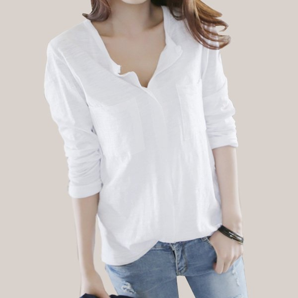 Women T Shirt 2018 Autumn Femme Tshirt Fashion Sexy V Neck Cotton Solid Tops Casual Female Long Sleeve T-shirts Camisetas Mujer Y19051301