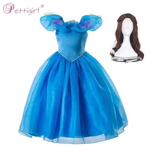 Pettigirl Princess Cosplay Elegant Princess Dress Cinderella Dresses With Flowers Girls Party Costume Kids Clothes GD50613-3