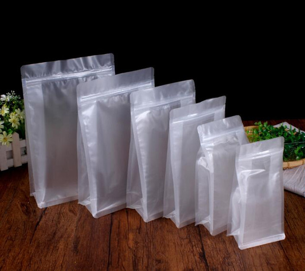 Stand up PET PE ZipLock Bags Clear Reusable Plastic Pouches Storage Bags for Food Snacks Retail Transparent Packages Bags 8 size